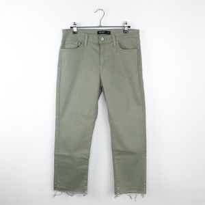 Just black cropped raw hem jeans in olive green